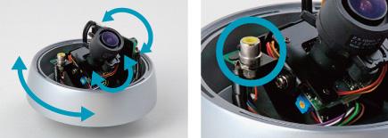 3軸方向の角度調整機構、モニター出力端子を搭載